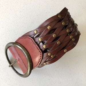Bonded Leather Braided Metal Accent Belt Womens M